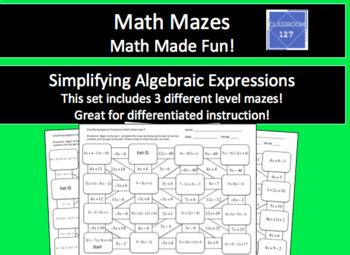 Simplifying Algebraic Expressions Math Maze