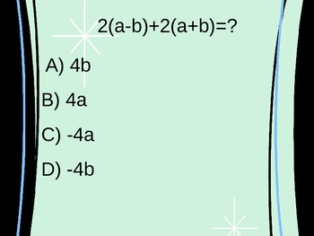 Simplifying Algebraic Expressions Multiple Choice Quiz PowerPoint