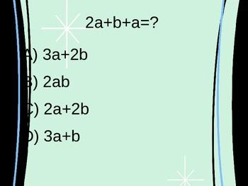 Simplifying Algebraic Expressions Multiple Choice Quiz PowerPoint