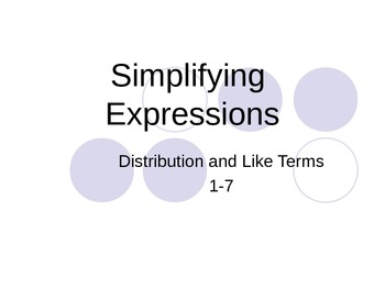 Simplifying Algebraic Expressions Power Point
