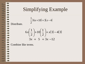 Simplifying Algebraic Expressions PowerPoint