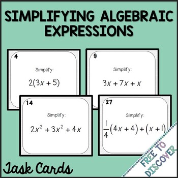 Simplifying Algebraic Expressions Task Cards (Positives Only)