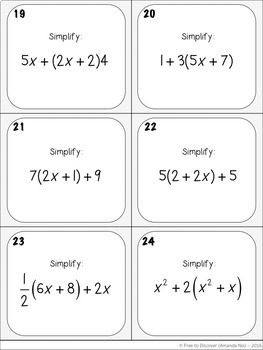 Simplifying Algebraic Expressions Activity - Task Cards (Positives Only)