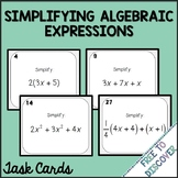 Simplifying Algebraic Expressions Activity - Task Cards (P