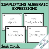 Simplifying Algebraic Expressions Activity - Task Cards (with Negatives)