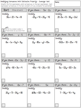 Simplifying Algebraic Expressions - Scavenger Hunt Worksheets