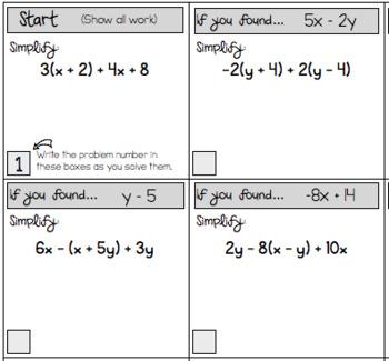 simplifying algebraic expressions scavenger hunt worksheets tpt. Black Bedroom Furniture Sets. Home Design Ideas