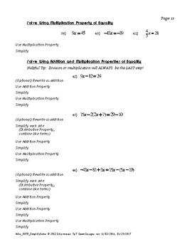 Simplifying Algebraic Expressions & Solving Linear Equations