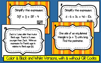 Simplifying Algebraic Expressions Task Cards - with & without QR Codes