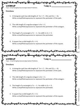 Algebra 1 Warm Ups: Simplifying Expressions