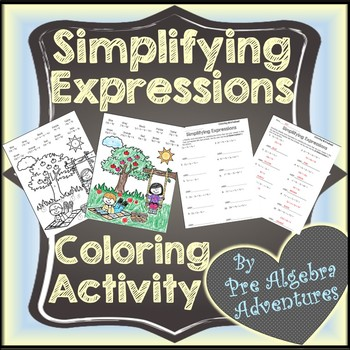 Simplifying Expressions Coloring {Simplifying Algebraic Expressions Worksheet}