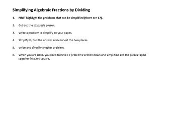 Simplifying Algebraic Fractions Puzzle
