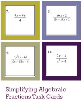 Simplifying Algebraic Fractions Task Cards