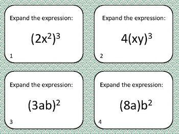 Simplifying Complex Exponents Task Cards