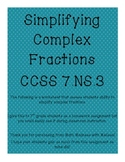 Simplifying Complex Fractions CCSS 7.NS.3