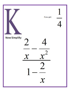 Simplifying Complex Fractions Scavenger Hunt