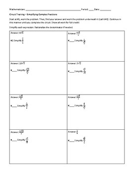 Complex Fraction Worksheet For Algebra 2 Teaching Resources