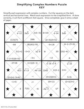 Worksheets Adding And Subtracting Complex Numbers Worksheet complex numbers square puzzle by mrs e teaches math teachers pay puzzle