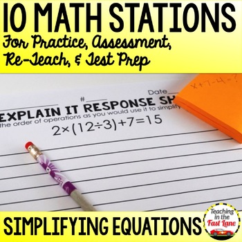Simplifying Equations Stations
