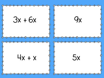 Simplifying Expressions Matching Game - Level 1