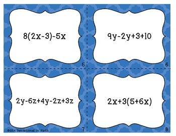 Simplifying Equations Task Cards