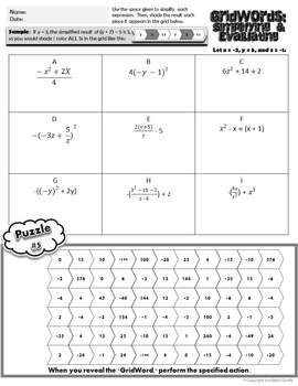 Simplifying & Evaluating Expressions with Order of Operations - GridWords