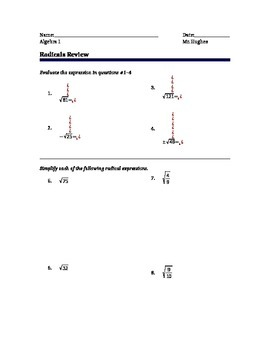 Simplifying, Evaluating, and Combining Radical Expressions Review