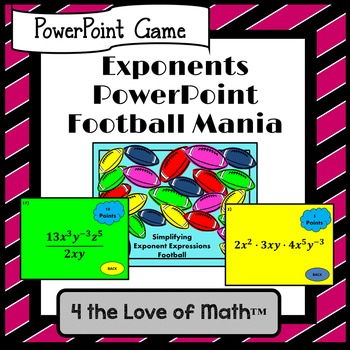 Simplifying Exponent Expressions: Football Mania PowerPoint Game