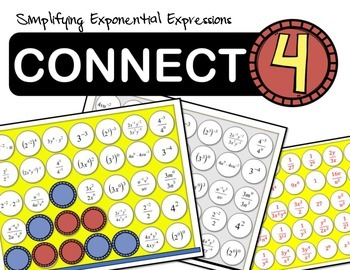 Simplifying Exponential Expressions Connect 4 Game
