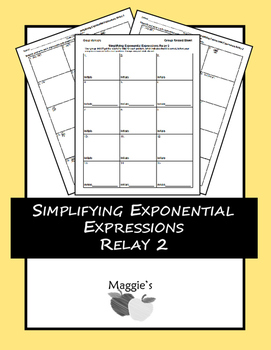 Simplifying Exponential Expressions Relay 2 (Game)