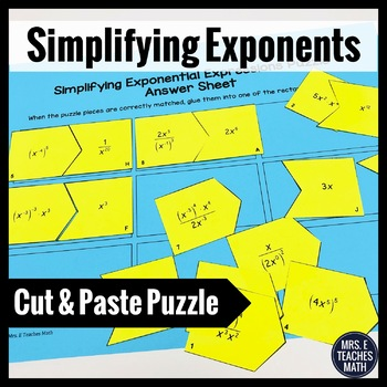 Simplifying Exponents Cut-Out Puzzle