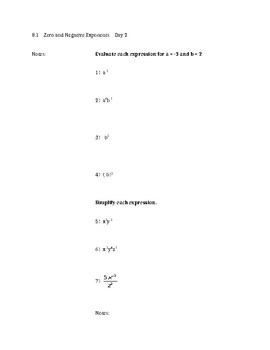 Simplifying Exponents Notes
