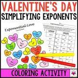 Valentine's Math Activity Simplifying Exponents