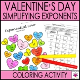 Simplifying Exponents Valentine's Coloring Activity