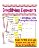 Simplifying Exponents - Worksheet with Powerpoint Solutions