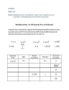 Simplifying Exponents and Radicals- It's All About the Base (and Radicand)!