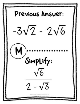 Simplifying Exponents and Radicals Looping Cards or Scavenger Hunt