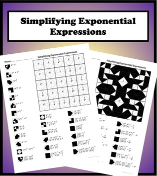 Simplifying Exponential Expressions (non variable) Color Worksheet