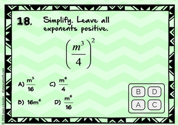 Simplifying Exponents with BOOM Cards Digital 1:1 Algebra