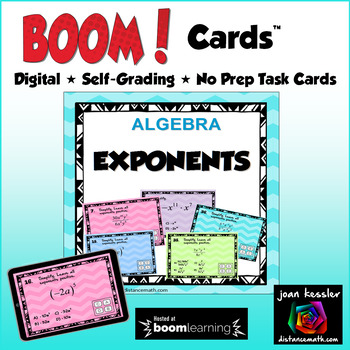 Simplifying Exponents with BOOM Cards Digital 1:1 Algebra by Joan ...