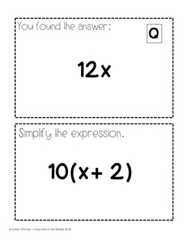 Simplifying Expression Activity: Scavenger Hunt