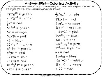 Simplifying Expression Coloring Activity -All Operations + Distributive Property