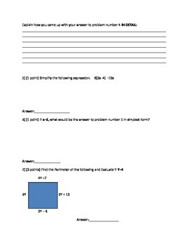 Simplifying Expression Quiz or Test