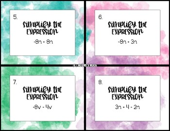 Simplifying Expressions 36 Task Cards 7th Grade Math