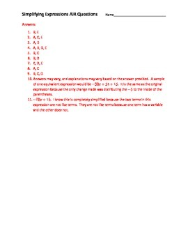 Simplifying Expressions AIR EOC Questions