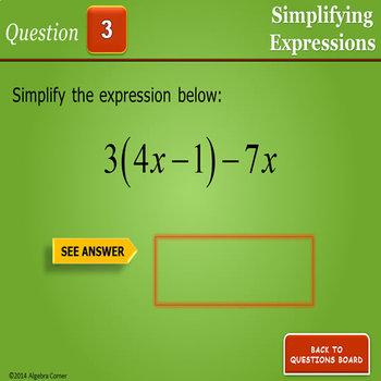Simplifying Expressions BINGO