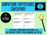 Simplifying Expressions Checkpoint