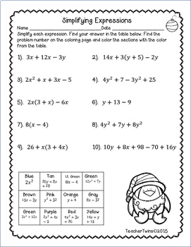 Simplifying Expressions Christmas Coloring Sheet