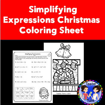 Christmas Expressions.Simplifying Expressions Christmas Coloring Sheet