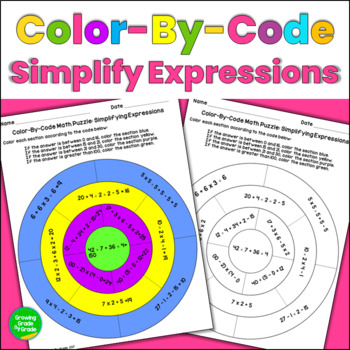 Simplifying Expressions Color By Code Math Puzzle